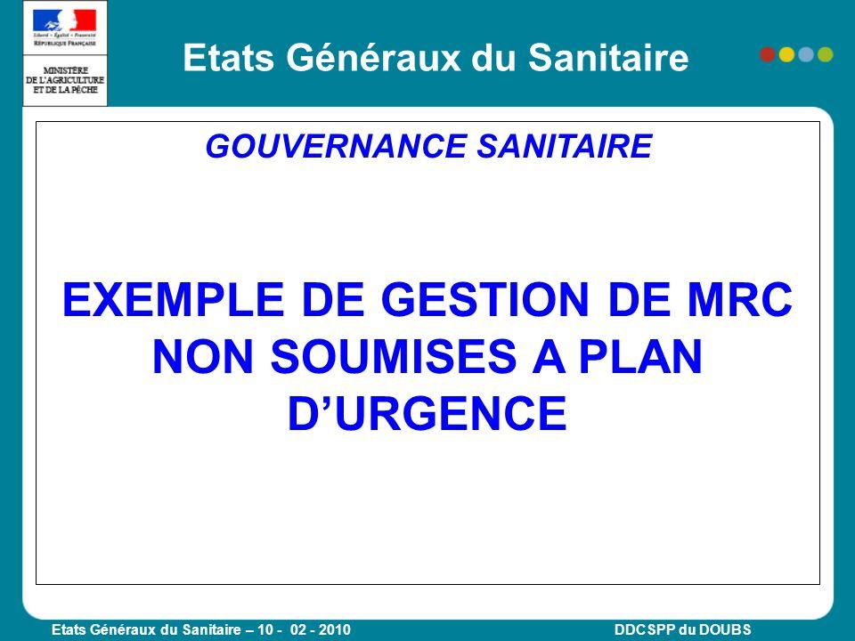 Etats Généraux du Sanitaire – 10 - 02 - 2010 DDCSPP du DOUBS GOUVERNANCE SANITAIRE EXEMPLE DE GESTION DE MRC NON SOUMISES A PLAN DURGENCE Etats Généra