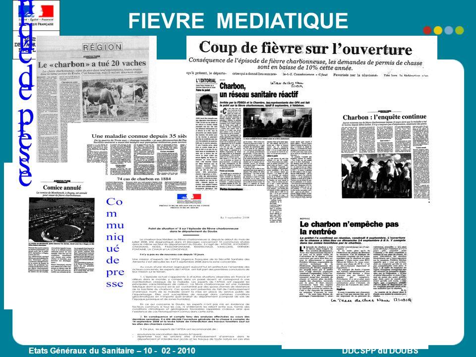 Etats Généraux du Sanitaire – 10 - 02 - 2010 DDCSPP du DOUBS Communiqué de presseCommuniqué de presse FIEVRE MEDIATIQUE
