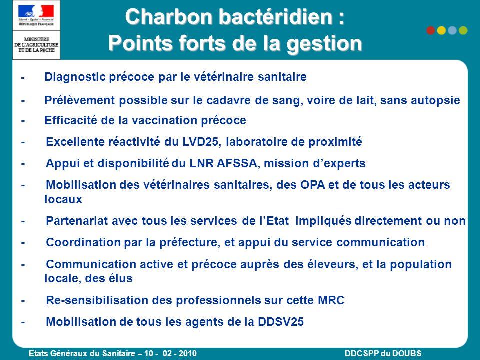 Etats Généraux du Sanitaire – 10 - 02 - 2010 DDCSPP du DOUBS - Diagnostic précoce par le vétérinaire sanitaire - Prélèvement possible sur le cadavre d