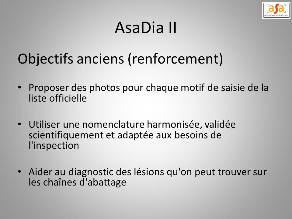 AsaDia II Objectifs anciens (renforcement) Proposer des photos pour chaque motif de saisie de la liste officielle Utiliser une nomenclature harmonisée
