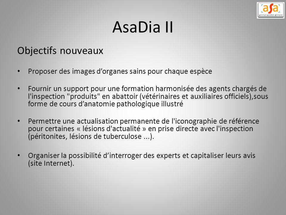 AsaDia II Objectifs nouveaux Proposer des images dorganes sains pour chaque espèce Fournir un support pour une formation harmonisée des agents chargés