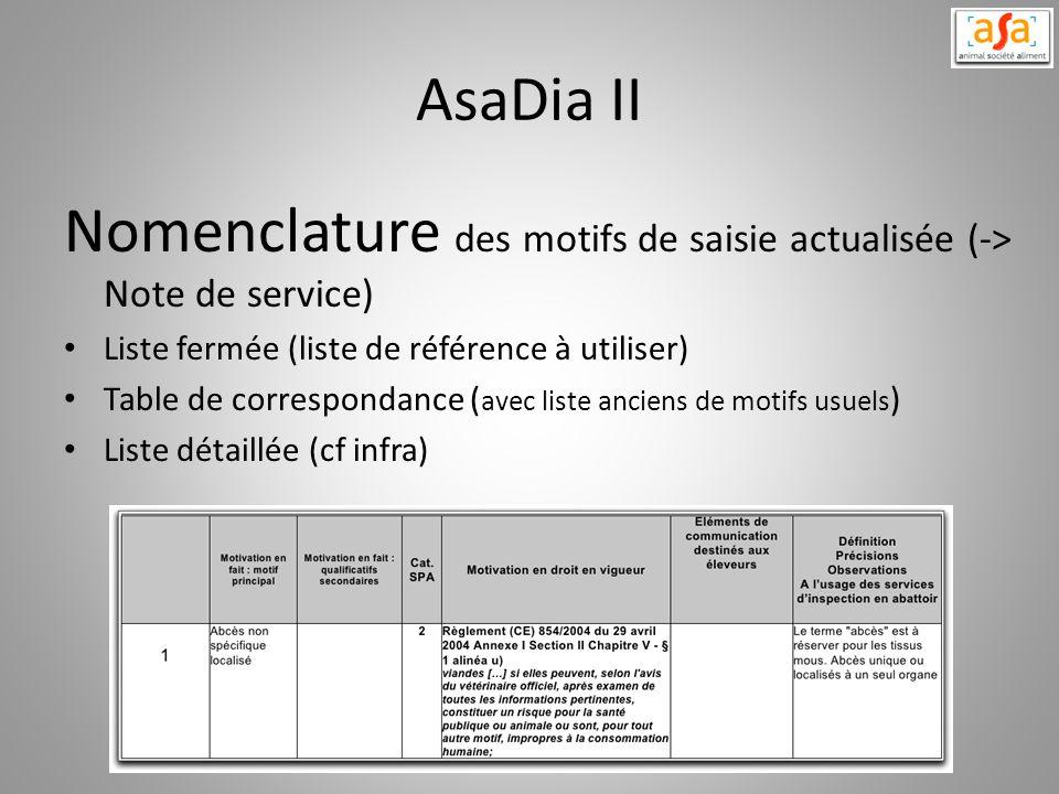 AsaDia II Nomenclature des motifs de saisie actualisée (-> Note de service) Liste fermée (liste de référence à utiliser) Table de correspondance ( ave