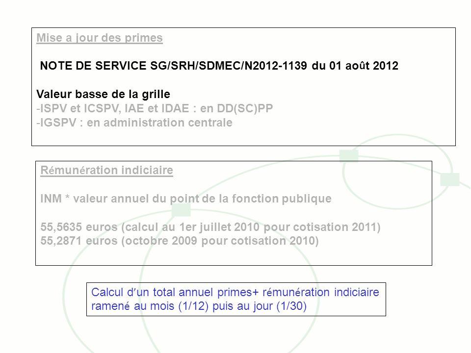 Mise a jour des primes NOTE DE SERVICE SG/SRH/SDMEC/N2012-1139 du 01 ao û t 2012 Valeur basse de la grille -ISPV et ICSPV, IAE et IDAE : en DD(SC)PP -