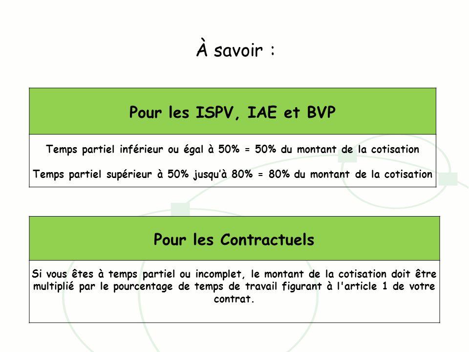 Pour les ISPV, IAE et BVP Temps partiel inférieur ou égal à 50% = 50% du montant de la cotisation Temps partiel supérieur à 50% jusquà 80% = 80% du mo