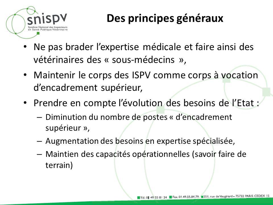 Des principes généraux Ne pas brader lexpertise médicale et faire ainsi des vétérinaires des « sous-médecins », Maintenir le corps des ISPV comme corp
