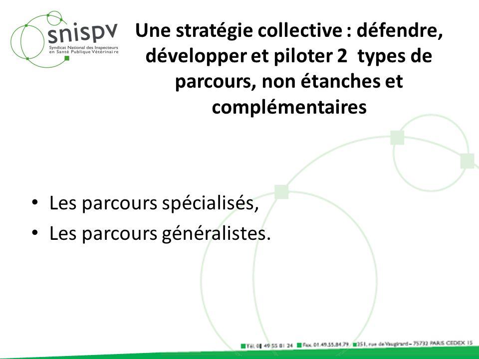Une stratégie collective : défendre, développer et piloter 2 types de parcours, non étanches et complémentaires Les parcours spécialisés, Les parcours