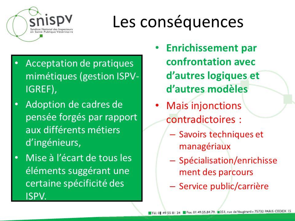 Les conséquences Acceptation de pratiques mimétiques (gestion ISPV- IGREF), Adoption de cadres de pensée forgés par rapport aux différents métiers din
