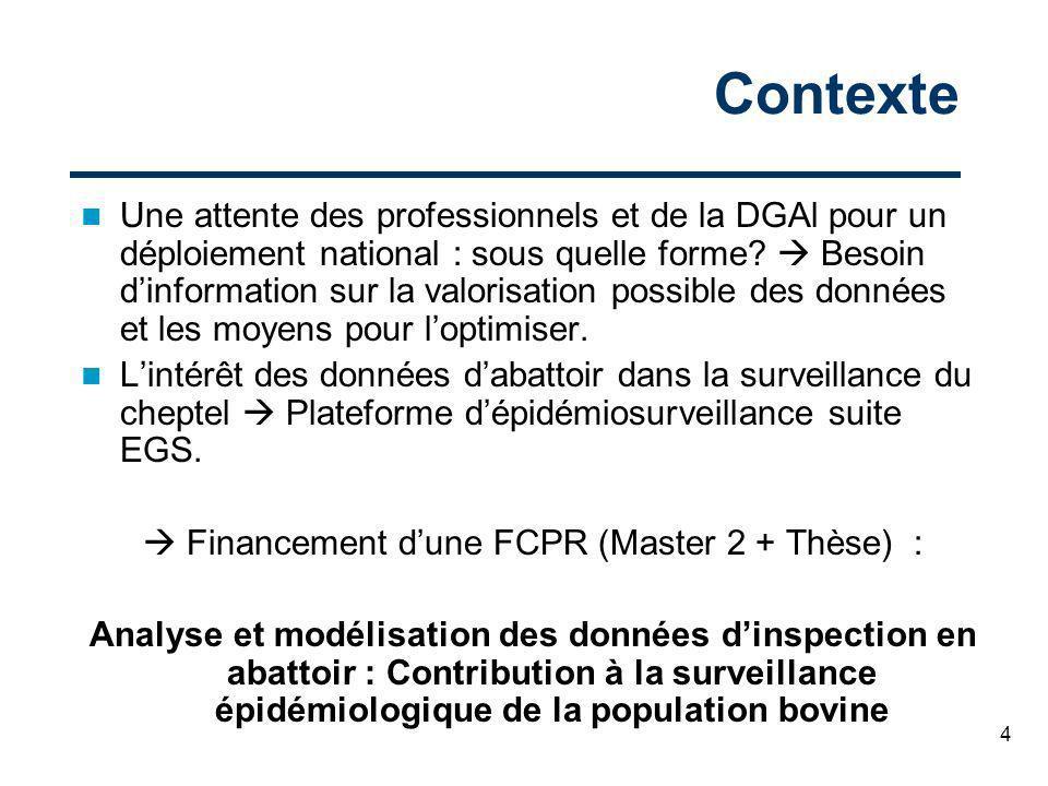 4 Contexte Une attente des professionnels et de la DGAl pour un déploiement national : sous quelle forme? Besoin dinformation sur la valorisation poss