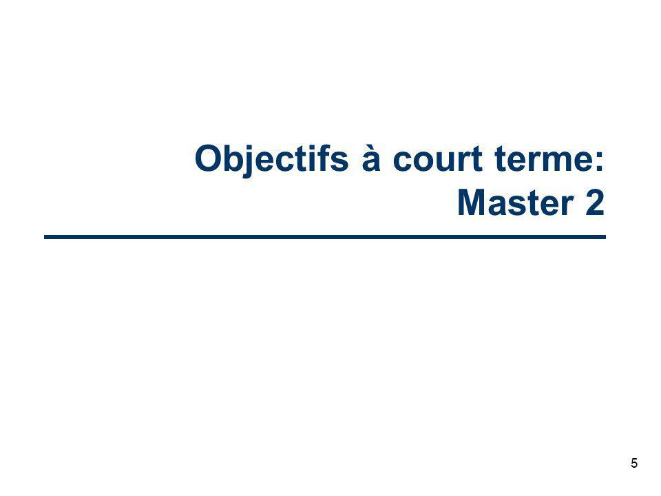 5 Objectifs à court terme: Master 2