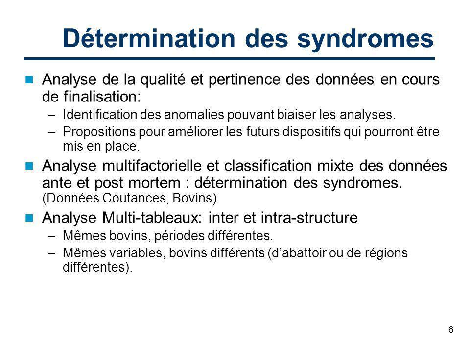6 Détermination des syndromes Analyse de la qualité et pertinence des données en cours de finalisation: –Identification des anomalies pouvant biaiser les analyses.