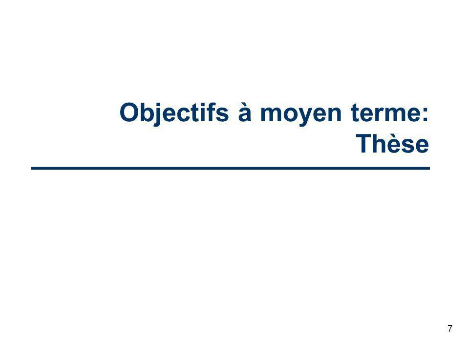 7 Objectifs à moyen terme: Thèse