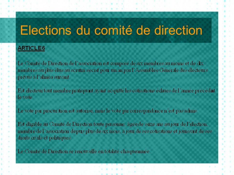 Elections du comité de direction