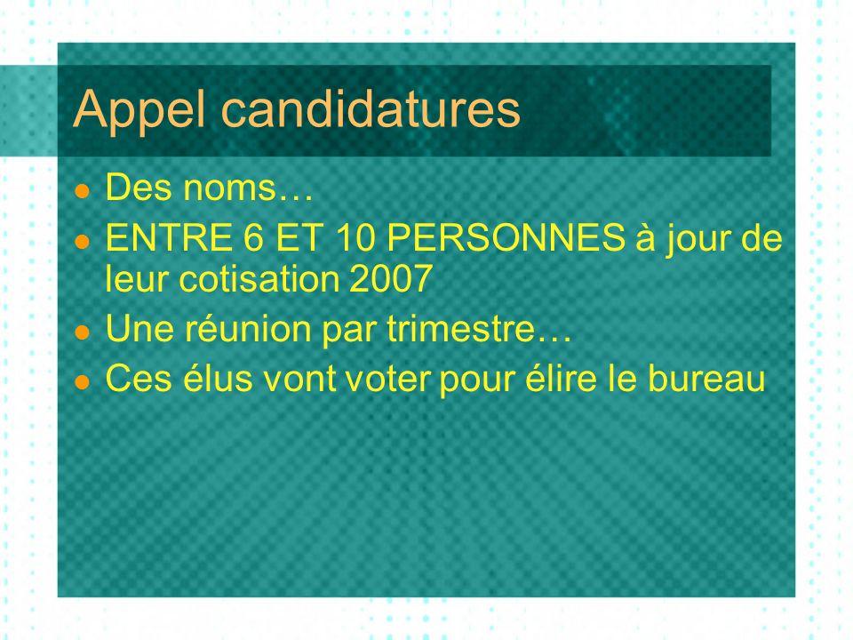 Appel candidatures Des noms… ENTRE 6 ET 10 PERSONNES à jour de leur cotisation 2007 Une réunion par trimestre… Ces élus vont voter pour élire le bureau
