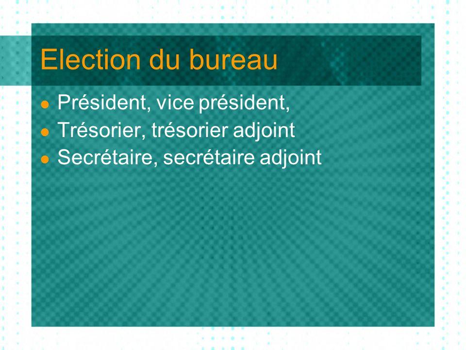 Election du bureau Président, vice président, Trésorier, trésorier adjoint Secrétaire, secrétaire adjoint