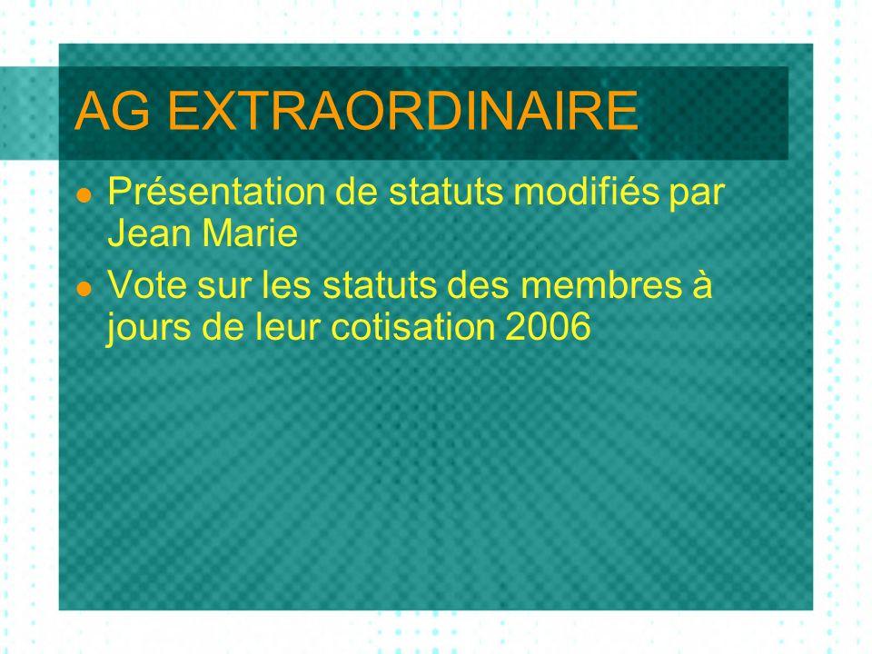 AG ORDINAIRE Allocution de Jean Marie Adoption du PV de 2006 Rapport financier Pierre