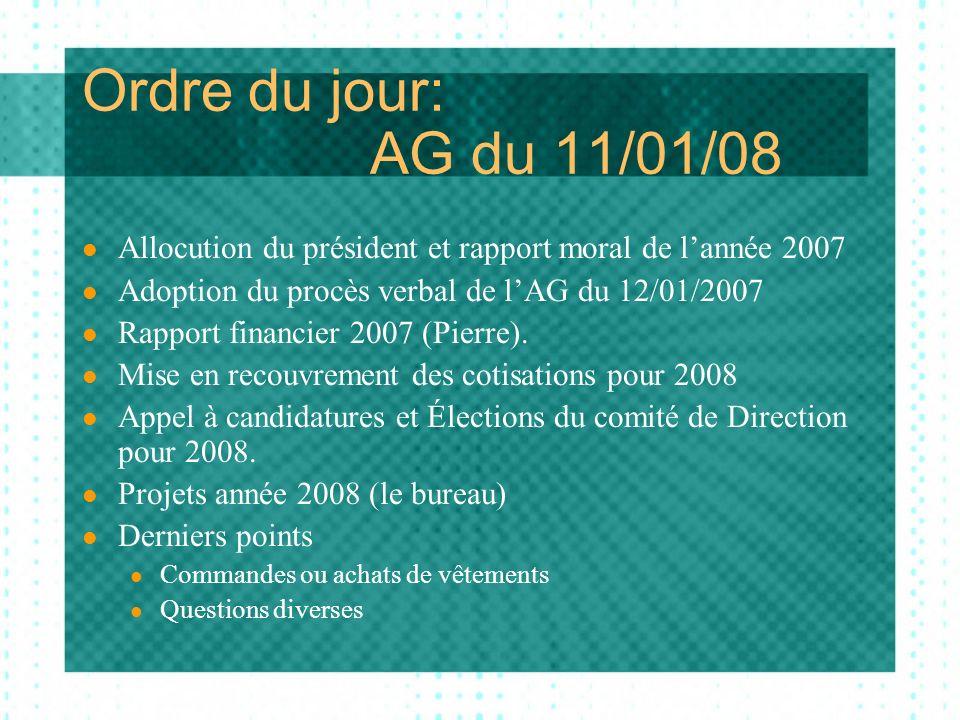 Ordre du jour: AG du 11/01/08 Allocution du président et rapport moral de lannée 2007 Adoption du procès verbal de lAG du 12/01/2007 Rapport financier 2007 (Pierre).