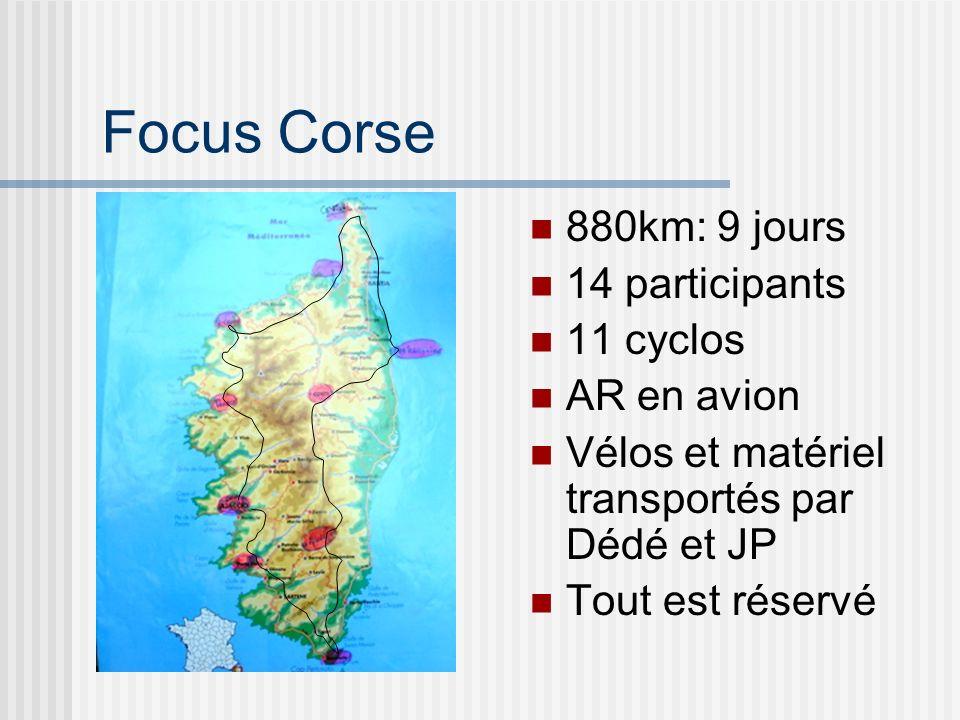 Focus Corse 880km: 9 jours 14 participants 11 cyclos AR en avion Vélos et matériel transportés par Dédé et JP Tout est réservé