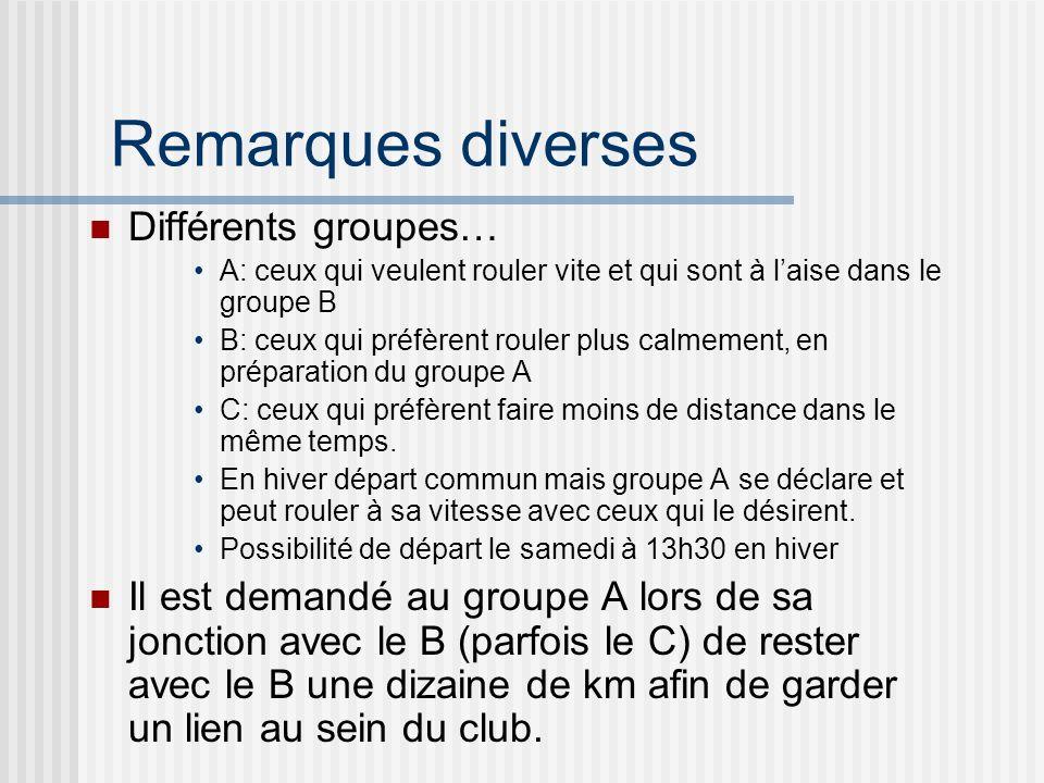 Remarques diverses Différents groupes… A: ceux qui veulent rouler vite et qui sont à laise dans le groupe B B: ceux qui préfèrent rouler plus calmement, en préparation du groupe A C: ceux qui préfèrent faire moins de distance dans le même temps.