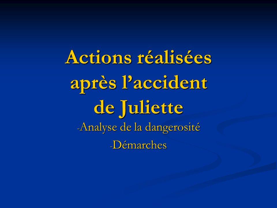 Actions réalisées après laccident de Juliette - Analyse de la dangerosité - Démarches