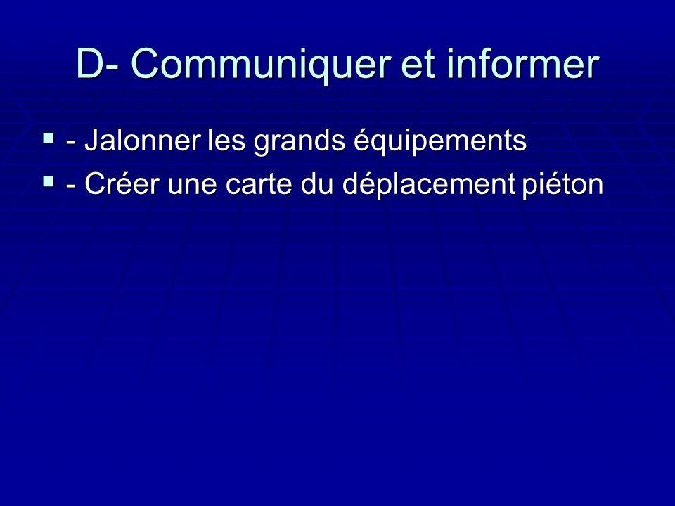 D- Communiquer et informer - Jalonner les grands équipements - Jalonner les grands équipements - Créer une carte du déplacement piéton - Créer une carte du déplacement piéton