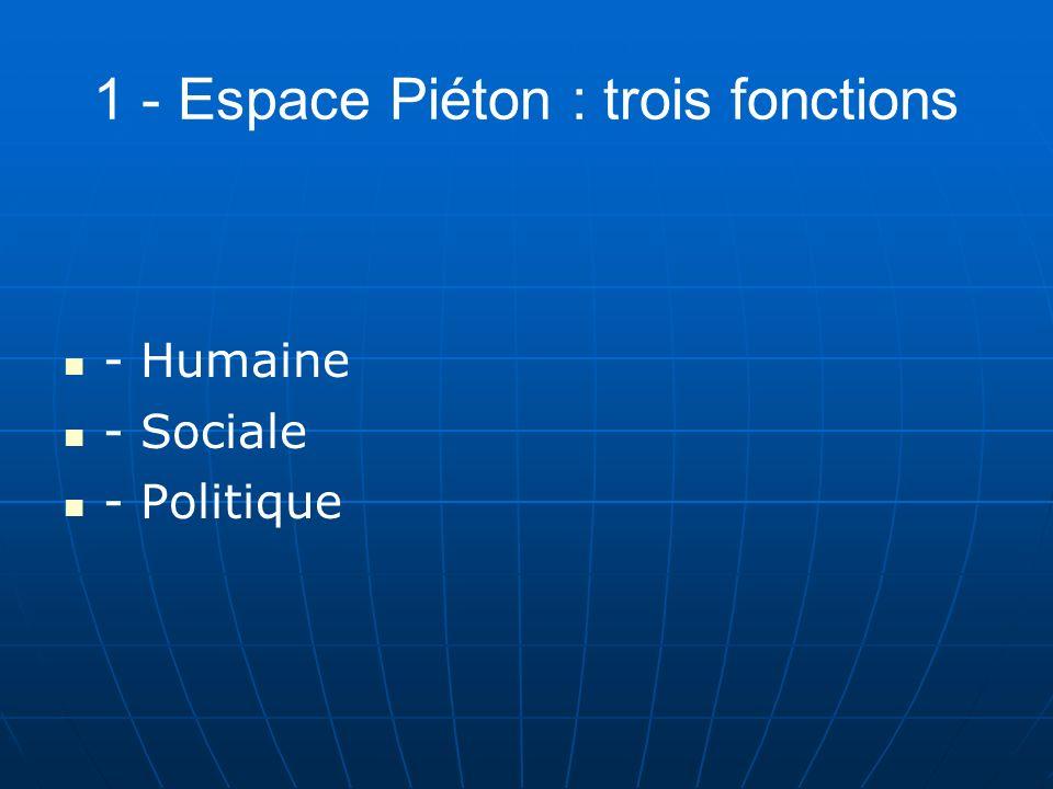 1 - Espace Piéton : trois fonctions - Humaine - Sociale - Politique