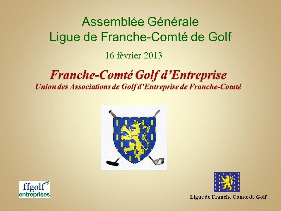 Franche-Comté, 10 associations Création de ASPSA Vesoul (70) 186 golfeurs licenciés Ffgolf +82 rattachés …286 golfeurs GE soit une progression totale de +23.2% (daprès la Ffgolf – 2ème progression de ligue de France) Aujourdhui, il y a 884 clubs dentreprise pour 31288 golfeurs La FFGolf……..