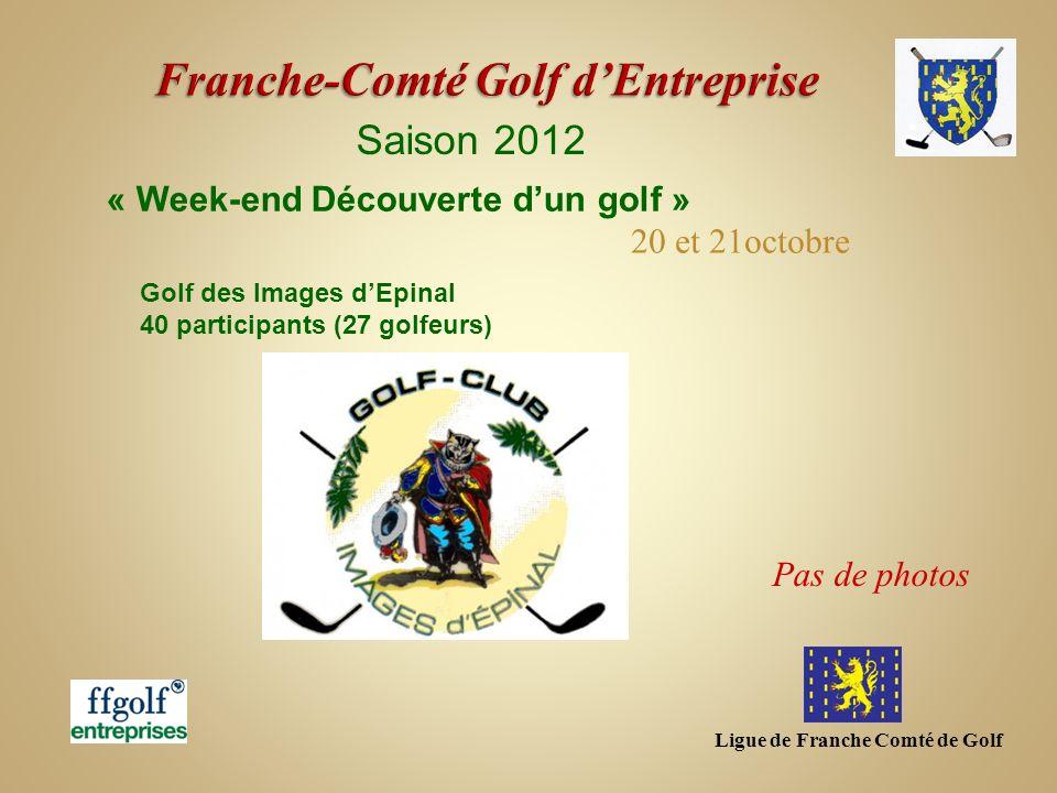 Ligue de Franche Comté de Golf Saison 2012 Golf des Images dEpinal 40 participants (27 golfeurs) « Week-end Découverte dun golf » 20 et 21octobre Pas