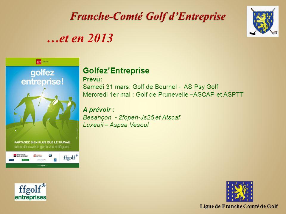 Ligue de Franche Comté de Golf …et en 2013 GolfezEntreprise Prévu: Samedi 31 mars: Golf de Bournel - AS Psy Golf Mercredi 1er mai : Golf de Prunevelle