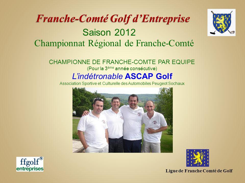 Ligue de Franche Comté de Golf Saison 2012 Championnat Régional de Franche-Comté CHAMPIONNE DE FRANCHE-COMTE PAR EQUIPE (Pour la 3 ème année consécuti