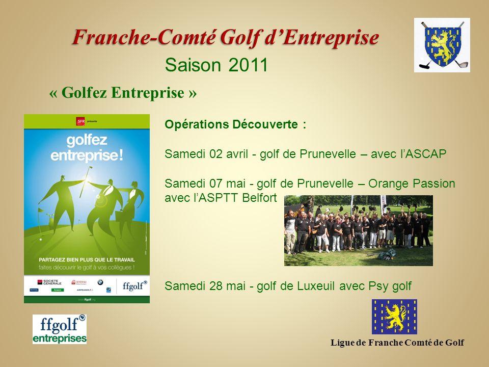Ligue de Franche Comté de Golf Saison 2011 Opérations Découverte : Samedi 02 avril - golf de Prunevelle – avec lASCAP Samedi 07 mai - golf de Prunevel
