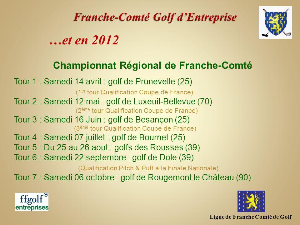 Ligue de Franche Comté de Golf …et en 2012 Championnat Régional de Franche-Comté Tour 1 : Samedi 14 avril : golf de Prunevelle (25) (1 er tour Qualifi
