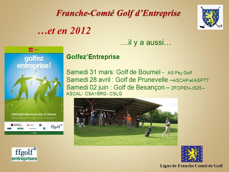 Ligue de Franche Comté de Golf …et en 2012 GolfezEntreprise Samedi 31 mars: Golf de Bournel - AS Psy Golf Samedi 28 avril : Golf de Prunevelle – ASCAP