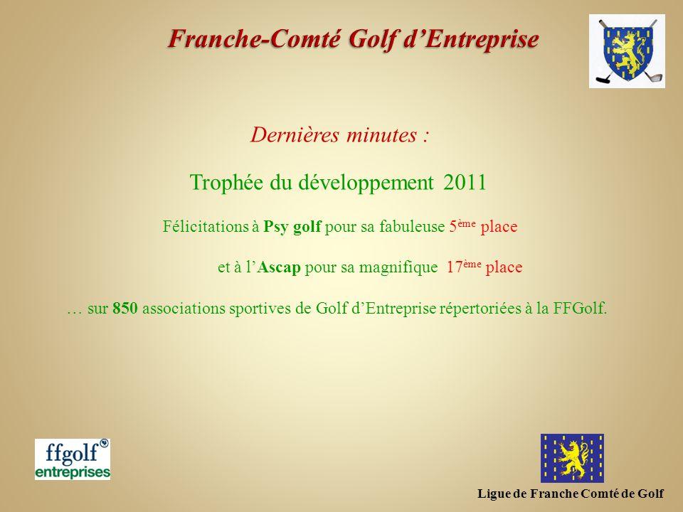 Ligue de Franche Comté de Golf Dernières minutes : Trophée du développement 2011 Félicitations à Psy golf pour sa fabuleuse 5 ème place et à lAscap po