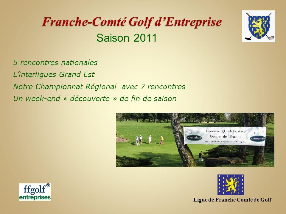Ligue de Franche Comté de Golf Saison 2011 FEDERAL au Golf de Chailly Franche-Comté Stéphane FERAL (2fopen-js25)-4.3 Jean-Luc PAUL (2fopen-js25)-5.6 Frédéric GOULET (Ascap Sochaux) -8.3 Hafedh LIMAM (Psy Golf)- 9.3 Sylvie COFFINET (Psy Golf)-15.8 Franche-Comté : 12 ème en Net et 14 ème en Brut sur 18 ligues Champion de France 2011 : NORD PAS DE CALAIS Du 24 au 25 septembre