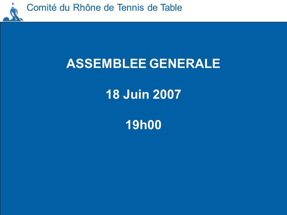 ASSEMBLEE GENERALE 18 Juin 2007 19h00 Comité du Rhône de Tennis de Table