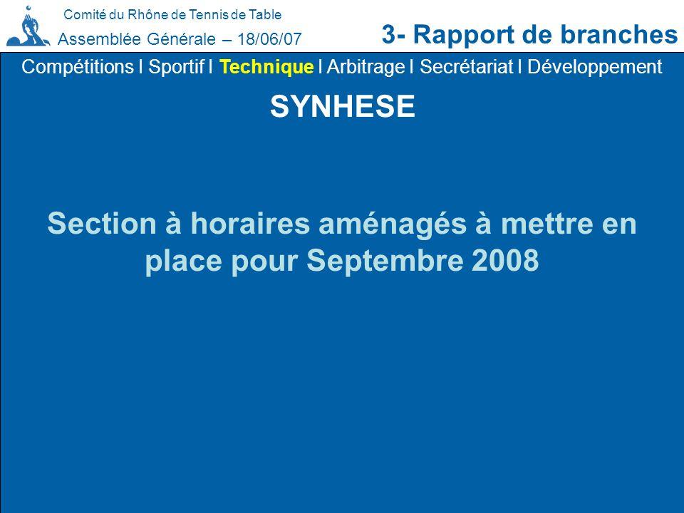 Comité du Rhône de Tennis de Table 3- Rapport de branches Assemblée Générale – 18/06/07 SYNHESE Compétitions I Sportif I Technique I Arbitrage I Secré