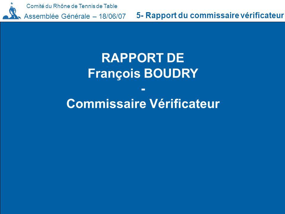 Comité du Rhône de Tennis de Table 5- Rapport du commissaire vérificateur Assemblée Générale – 18/06/07 RAPPORT DE François BOUDRY - Commissaire Vérif