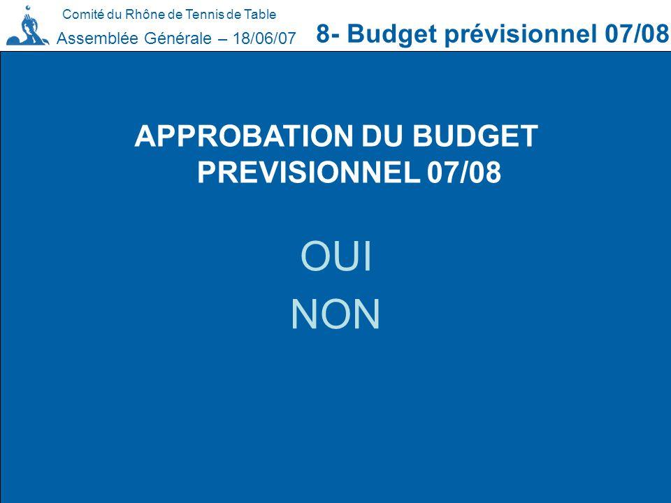 Comité du Rhône de Tennis de Table 8- Budget prévisionnel 07/08 Assemblée Générale – 18/06/07 APPROBATION DU BUDGET PREVISIONNEL 07/08 OUI NON