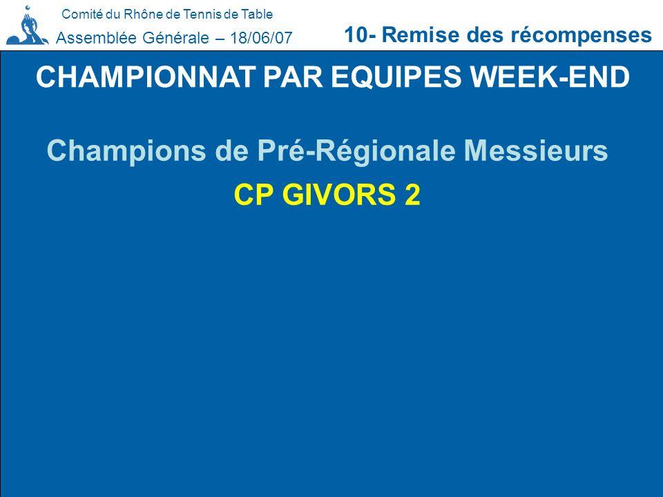 Comité du Rhône de Tennis de Table 10- Remise des récompenses Assemblée Générale – 18/06/07 CHAMPIONNAT PAR EQUIPES WEEK-END Champions de Pré-Régional