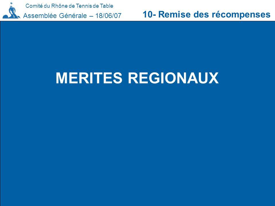 Comité du Rhône de Tennis de Table 10- Remise des récompenses Assemblée Générale – 18/06/07 MERITES REGIONAUX