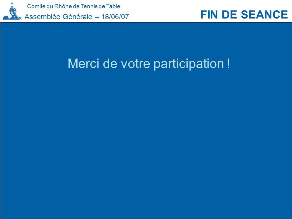 Comité du Rhône de Tennis de Table FIN DE SEANCE Assemblée Générale – 18/06/07 Merci de votre participation !