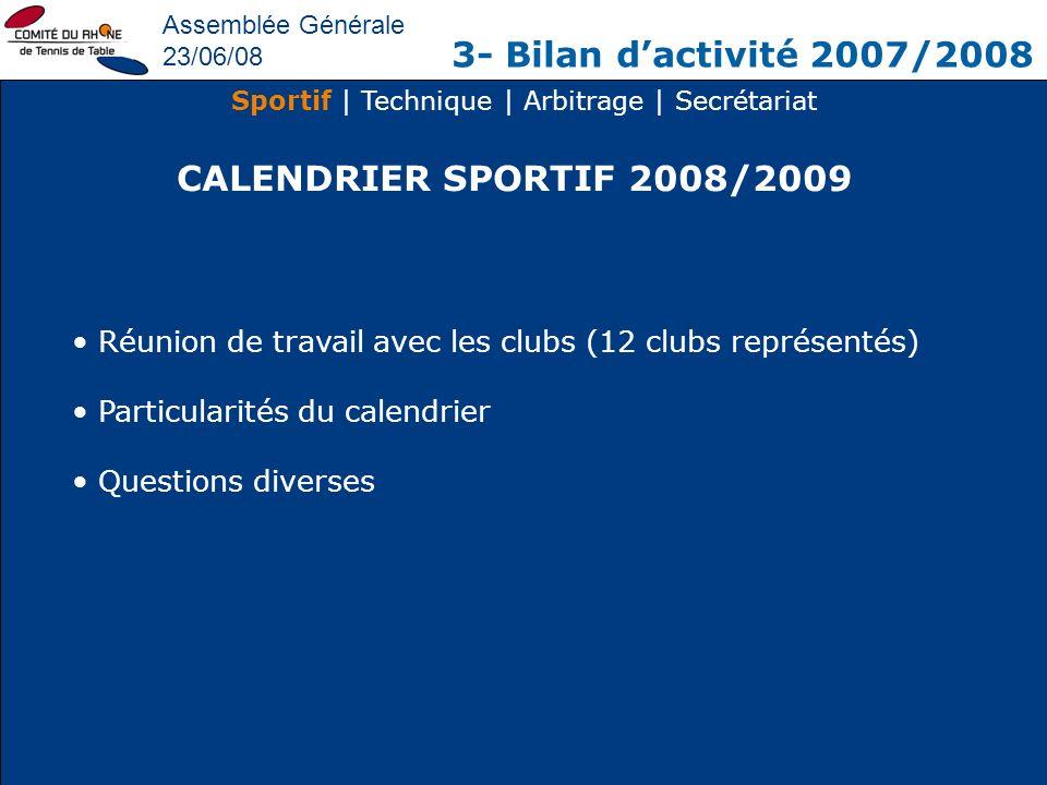 Assemblée Générale 23/06/08 3- Bilan dactivité 2007/2008 Sportif | Technique | Arbitrage | Secrétariat CALENDRIER SPORTIF 2008/2009 Réunion de travail
