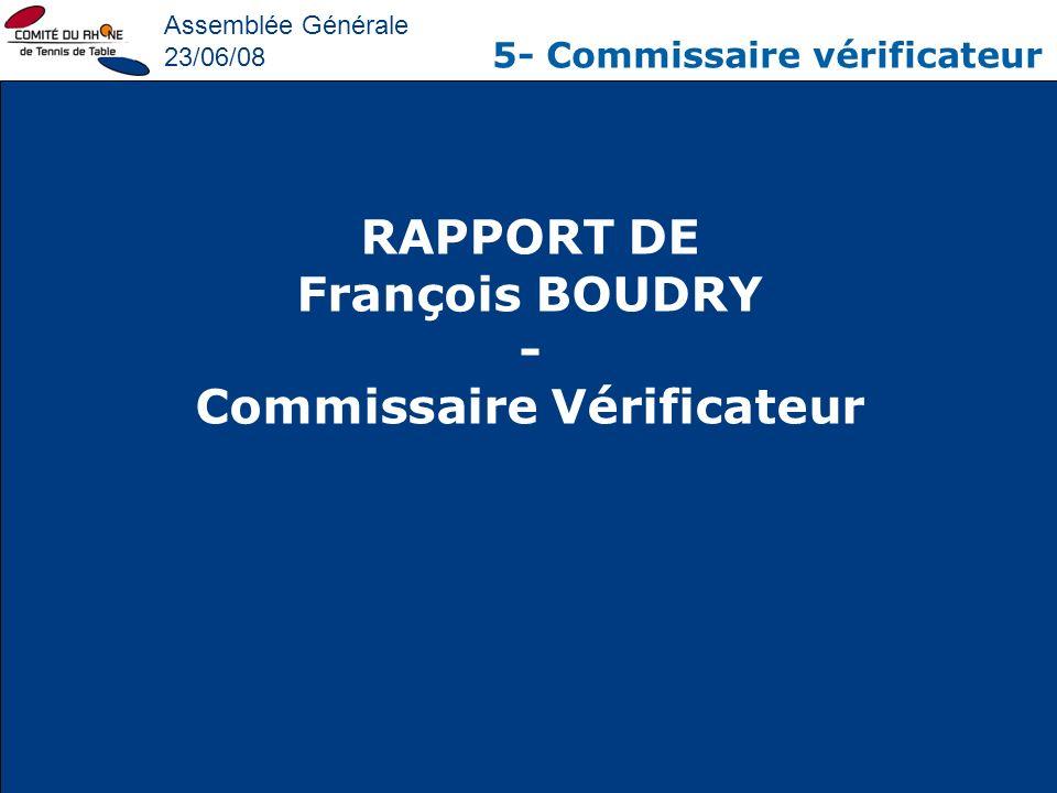 Assemblée Générale 23/06/08 5- Commissaire vérificateur RAPPORT DE François BOUDRY - Commissaire Vérificateur