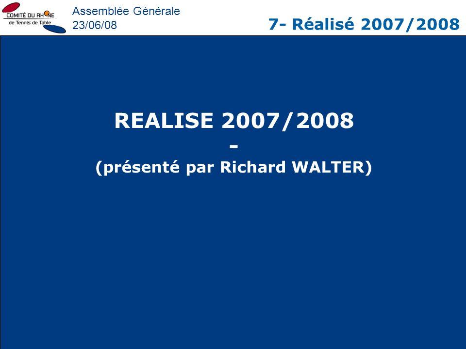 Assemblée Générale 23/06/08 7- Réalisé 2007/2008 REALISE 2007/2008 - (présenté par Richard WALTER)