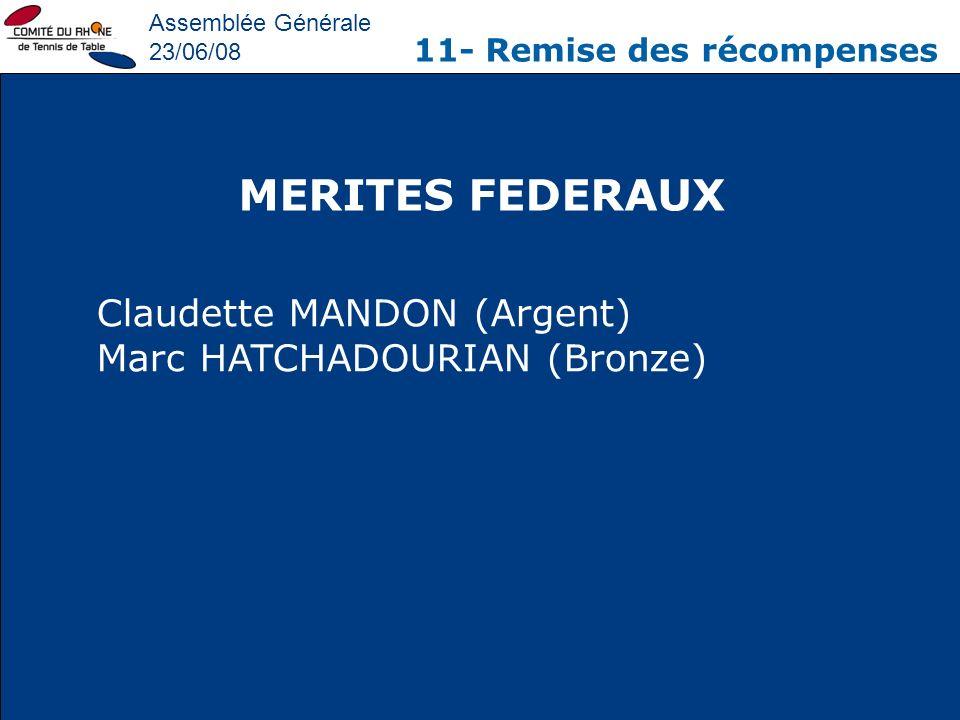 Assemblée Générale 23/06/08 11- Remise des récompenses MERITES FEDERAUX Claudette MANDON (Argent) Marc HATCHADOURIAN (Bronze)