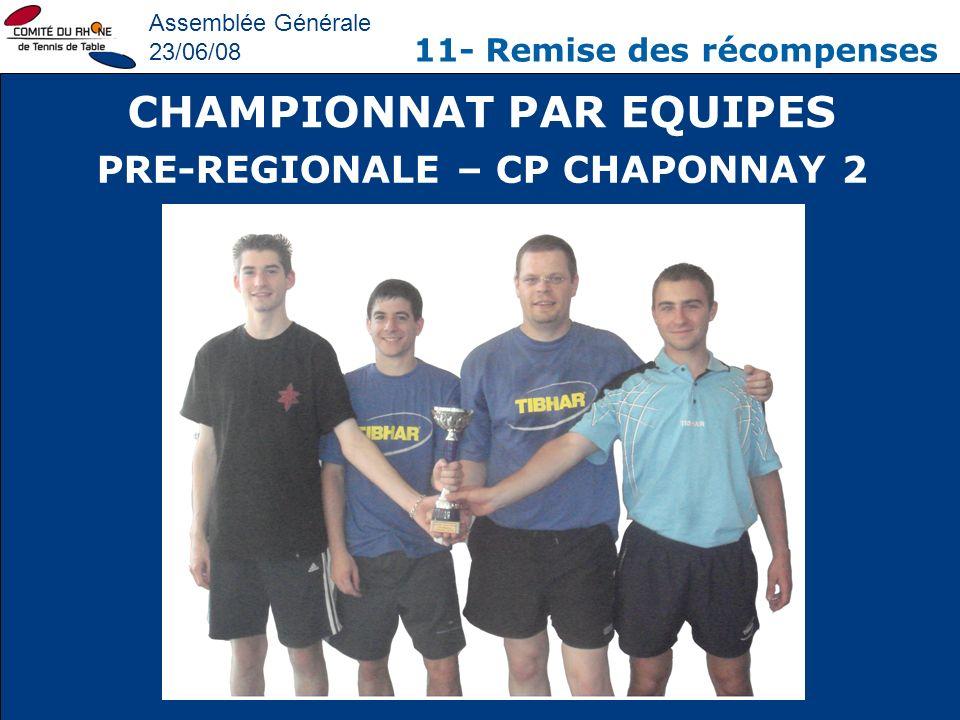 Assemblée Générale 23/06/08 11- Remise des récompenses CHAMPIONNAT PAR EQUIPES PRE-REGIONALE – CP CHAPONNAY 2