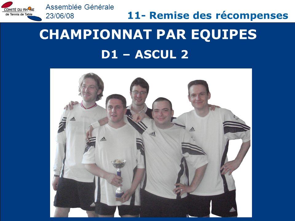 Assemblée Générale 23/06/08 11- Remise des récompenses CHAMPIONNAT PAR EQUIPES D1 – ASCUL 2
