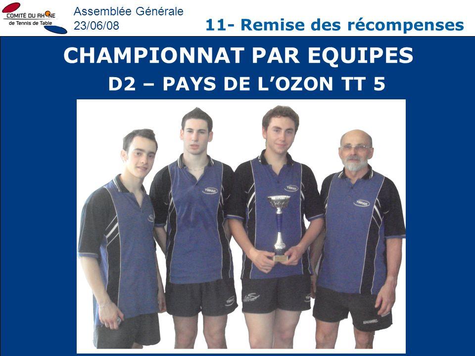 Assemblée Générale 23/06/08 11- Remise des récompenses CHAMPIONNAT PAR EQUIPES D2 – PAYS DE LOZON TT 5