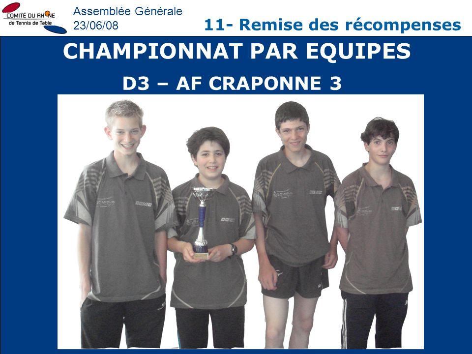 Assemblée Générale 23/06/08 11- Remise des récompenses CHAMPIONNAT PAR EQUIPES D3 – AF CRAPONNE 3