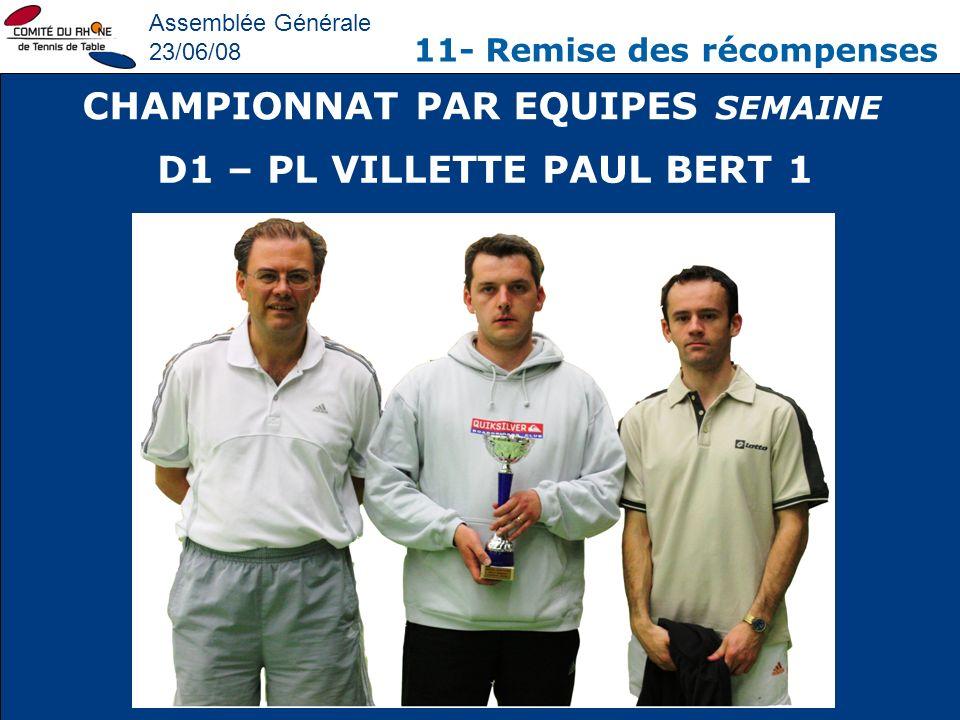 Assemblée Générale 23/06/08 11- Remise des récompenses CHAMPIONNAT PAR EQUIPES SEMAINE D1 – PL VILLETTE PAUL BERT 1